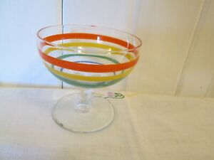 "Fiesta Colors Striped Glass Champagne Stemmed 3 1/2"" Tall Martini Pedestal"