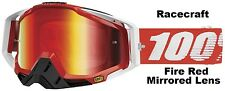 100% Racecraft Fire Red Mirrored Lens Goggles Percent Ski BMX ATV MX Snowboard
