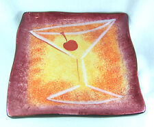 Clay Art StoneLite Ultra Lounge Hand Painted Plate Martini Pink Orange Yellow