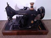 Vintage SINGER Sewing Machine Model w/ Bentwood Case 1851-1951