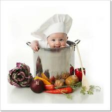 Licking Baby Sitting In A Chef's Pot  Art Print Home Decor Wall Art Poster - E