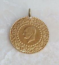 2008 Turkey Gold 25 Kurush Monnaie de Luxe Gold 22KT Coin Charm Pendant Necklace