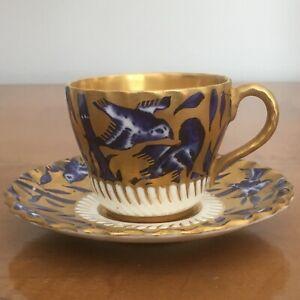 Lovely vintage Coalport porcelain miniature Blue Bird cup & saucer Cobalt Gilt