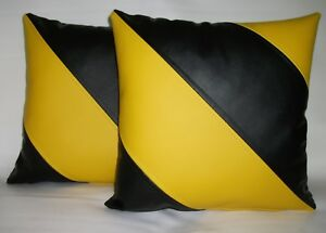 """2 Yellow & Black Dual Stripe Faux Leather Cushions 16"""" 18""""  & Inner Filler Pads"""
