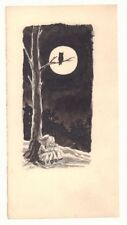 Hansel & Gretel Lost at Night in the Spooky Woods Illo 1960s art by George Papp Comic Art