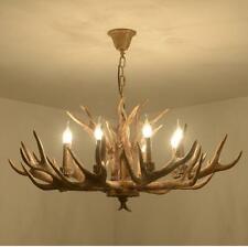 8-Lights Resin Antler Deer Horn Chandelier Pendant Lighting Vintage Ceiling Lamp