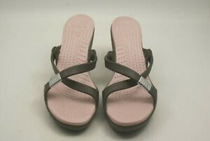 Crocs Women's Size 7 Taupe Pink Sole Criss Cross High Heels Wedge Sandals Casual