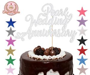 Pearl Wedding Anniversary Glitter Cake Topper Decoration for 30th Anniversary