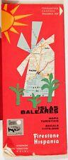 VINTAGE FOLDED ROAD MAP 1969 ISLAS BALEARES SPAIN, FIRESTONE HISPANIA, SPANISH