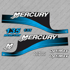 Mercury 135 hp Optimax outboard engine decals BLUE sticker set reproduction
