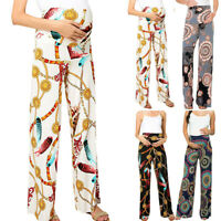 Women Mom Maternity Summer Loose Straight Wide Leg Pants Print Pregnant Trousers