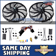 "(2) 12"" Electric Universal Cooling Slim Fan Tornado + Thermostat Relay Kit"