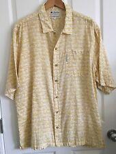 Columbia Sportswear Casual Shirt Hawaiian Aloha Button Up yellow Cream Men's L