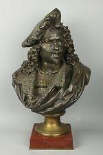 "Large 21"" Albert Carrier-Belleuse (1824-1887) Bronze ""Bust of Rembrandt"" WorldWi"