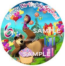 Masha and BEAR Round Edible ICING Image Birthday CAKE Topper Decoration