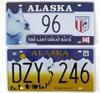 Lot de 2 plaques d'immatriculation américaines ALASKA USA License Plates