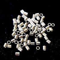 2x2mm Sterling Silver Jewelry making Tube Crimp Beads 20/50/100pcs Findings sale