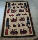 Super Afghan War Rug hand Made and Hand Knotted Showing helicopters, tanks,