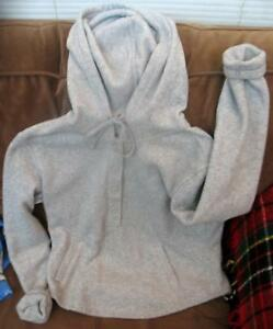 Together Sweater Hoodie Jacket Gray Top Buttons Size Small Warm Furry Mach Wash