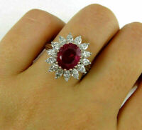 5 Ct Red Ruby Marquise & Diamond Cocktail Cluster Ring 14K White Gold Finish