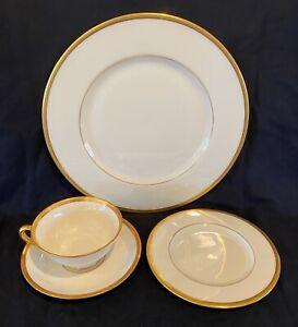 Vintage Lenox Tuxedo 4 Piece Place Setting Porcelain Presidential Gold J-33