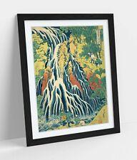 KIRIFURI WATERFALL HOKUSAI -ART FRAMED POSTER PICTURE PRINT ARTWORK- BLUE YELLOW
