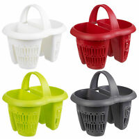 Plastic 4 Section Cutlery Utensil Drainer Holder Sink Tidy Organiser Rack Caddy
