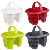 Plastic 4 Section Cutlery Utensil Drainer Holder Sink Tidy Organiser Rack Caddy