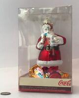 "Christmas Ornament Kurt S. Adler SANTA COCA-COLA Hand-Crafted Glass Boxed 4.75"""