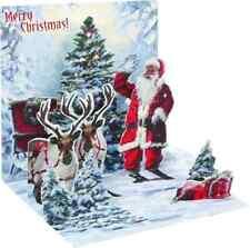 Treasure Pop Up Greeting card and Gift cardholder Jolly Santa Reindeer Christmas