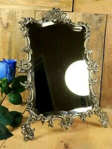 French Antique Vanity Mirror Silver Plated Bronze Beveled Glass Ornate c1886