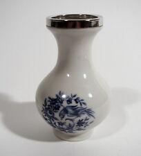 Altenkunstadt Porzellan Vase mit 800er Silber Rand Vögel Blumen
