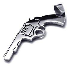 Gun Pistol Bullets Texan Pendant Chain Fashion Stainless Metal Necklace