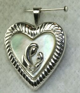 CONTEMPORARY 10K WHITE GOLD MOTHER OF PEARL MOTHER & BABY HEART LOCKET PENDANT
