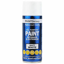 9 x 400ml Multiuso Bianco Opaco Spray Vernice Spray Per la casa Auto Plastica