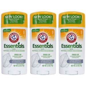 3 Pack Arm & Hammer Essentials Deodorant Solid, Unscented 2.5 Ounce Each