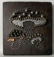 Vintage Mid Century Modern 1970s Handmade Tack Mushroom Wall Craft Folk Art