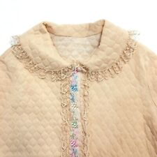 Vintage 1960s Ladies Quilted Robe House Coat Lace Trim Embroidered Nude Beige
