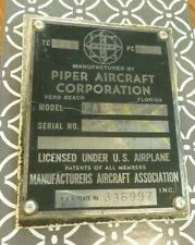 Piper PA28-235 Data Plate (Aircraft)