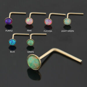 22G Opal Stone 9K Solid Yellow Gold L-Shape Nose Stud Piercing Jewelry