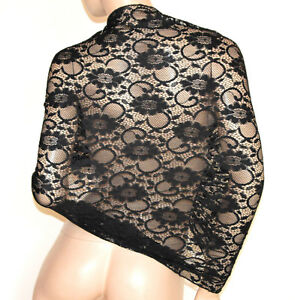 SCIALLE STOLA NERA 30% SETA foulard pizzo ricamato donna coprispalle abito G30