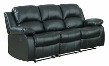 Classic Bonded Leather 3 Seat Reclining Sofa - Black