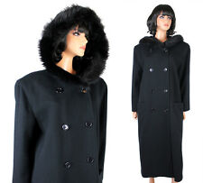 Winter Trench Coat Sz M L Long Black Wool Fox Fur Trim Hood Hooded Harve Benard