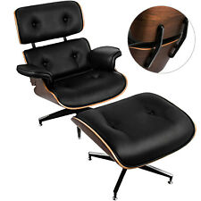 Luxury 100% PU Leather Lounge Chair and Ottoman Mid-Century Walnut Black Eames