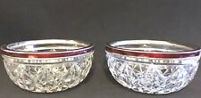 2 Bows Silver Sterling Enamel Pieces Pair Crystal Glass