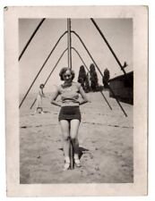 Vintage snap shot sexy lady at beach swimsuit swing set abstract London,Ont.