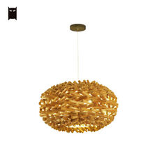 Natural Wood Nest Pendant Light Fixture Vintage Country Style Hanging Ceil Lamp