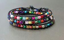 Colorful Stone Black Leather Wrap Bracelet / Anklet