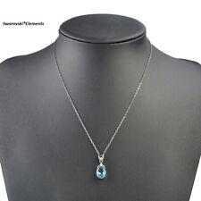 collier pendentif goutte Swarovski® Elements et aquamarine + pochette