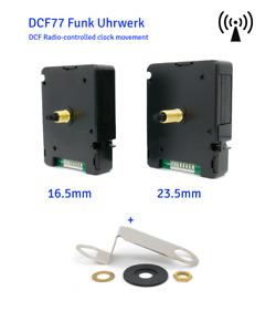 Funkuhrwerk DCF sehr leise 16mm 23mm Welle mit Zeiger 9 -15 cm weiß gold schwarz